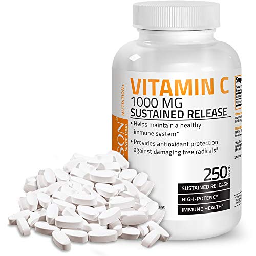 Bronson Vitamin C 1000 mg Sustained Release Premium Non-GMO Ascorbic Acid, 250 Tablets