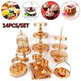Cake Stands and Pastry Trays, Metal Crystal Cake Holder Cupcake Stand Classical Metal Dessert Wedding Birthday Party Dessert Cupcake Pedestal Display for Tables (CA NJ Warehouse) (14PCS Golden)