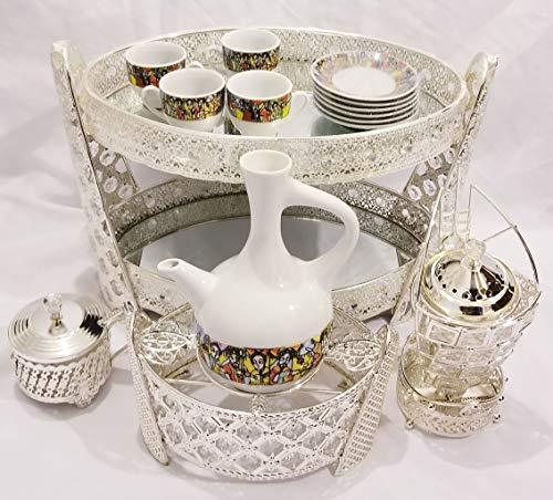 Ethiopian/Eritrean Coffee Table Set in SILVER- Rekebot- 4 PCS Set, Coffee Table (Rekebot), Server/Sugar Bowl with Tea Spoon-የስኳር ማቅረቢያ, Incense Burner-እጣን ማጨሻ, Coffee Pot (Jebena) Base- የጀበና ማስቀመጫ