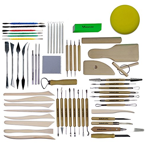 - Skilled Crafter Complete Clay Sculpting Collection. Comprehensive 60 Piece Set of Quality Stainless Steel, Aluminum, Birch & Gingko Wood Tools for Detailing & Modeling for Serious Potters & Sculptors