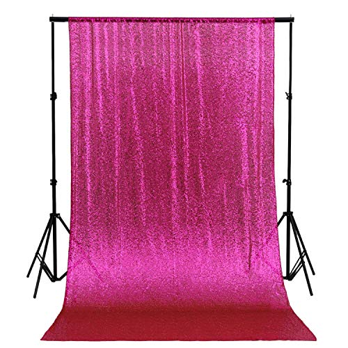 QueenDream 4ftx6.5ft Fuchsia Sequin Wedding Backdrop Sparkly Photography Backdrop for -