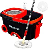 Moppson Spin Mop Bucket System Stainless Steel 360 Spin Mop with Extended EasyPress Handle and 2 Microfiber Mop Heads, Bucket with Wheels and EasyWring Dryer Basket for Home Kitchen Floor Cleaning