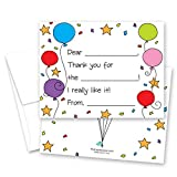 20 Colorful Balloons Fill-in Birthday Thank You Cards