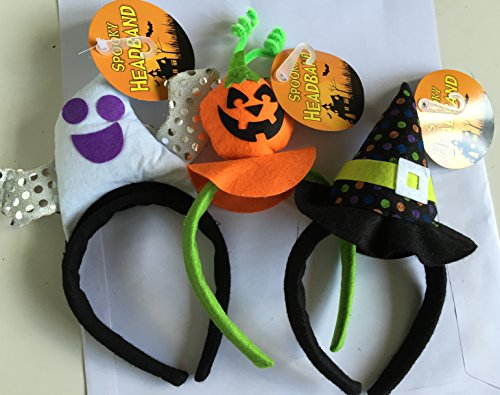 Halloween Hairband Assorted Designs pack of 3 Pumpkin, Gost With wings & Witch]()