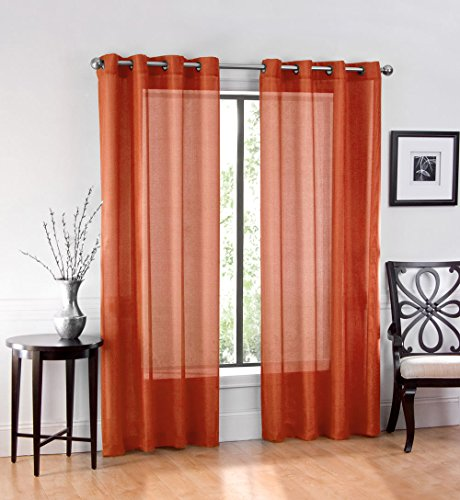 2 Pack: GoodGram Ultra Luxurious High Woven Elegant Sheer Grommet Curtain Panels - Assorted Colors (Spice)