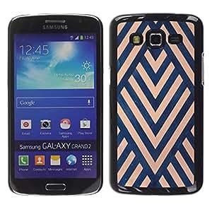 For Samsung Galaxy Grand 2 II / SM-G7102 / SM-G7105 Case , Art Deco Blue Beige Lines Pattern - Diseño Patrón Teléfono Caso Cubierta Case Bumper Duro Protección Case Cover Funda