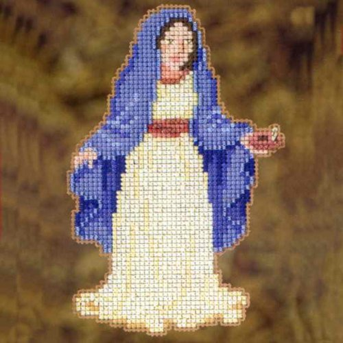 "Mary Ornament Counted Cross Stitch Kit-3-1/2""X5"""