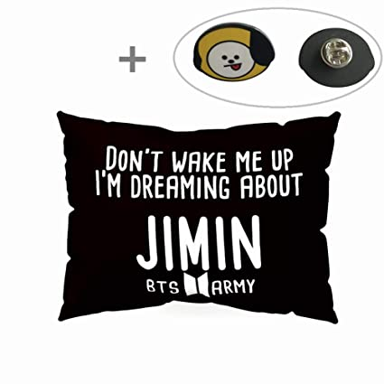 Hosston BTS Pillowcase Kpop Bangtan Boys 50 x 30 cm Soft Velvet Throw  Pillow Case with One BTS Cute Brooch Pin Badge Free Best Gift for  ARMY(Style