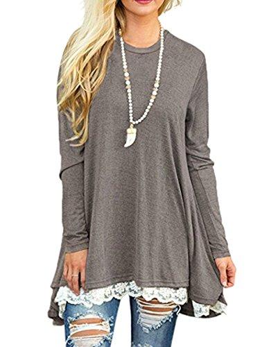 Women's Long Sleeve Lace Tunic Top Blouse Casual Swing Tunic Shirt Dress (Grey, S)
