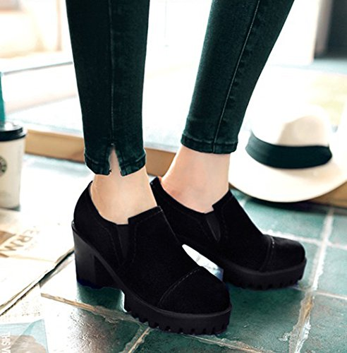 d64907d2c5a5 Sfnld Women s Fashion Round Toe Low Cut Stitches Lug Sole High Chunky Heel  Pumps Shoes Black