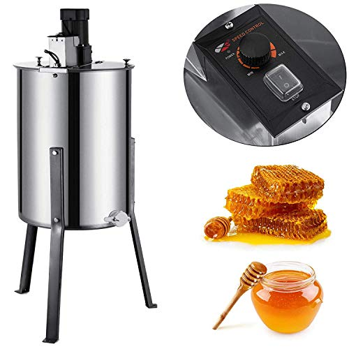 Happybuy Electric Honey Extractor Stainless Steel Extraction Honeycomb Drum Spinner Beekeeping Equipment with Strainer, 3 Frame, ()
