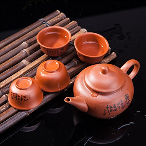 Chinese Tea Set (Exquisite 5 PCS Asian Chinese Calligraphy Design Purple Clay Tea Pot Tea Cups Set In Gift)