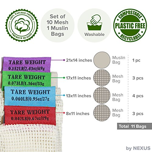 Reusable Produce Bags ECO by NEXUS, Set of 11 - Washable Mesh Grocery Bags for Shopping, Storage and Organization - Tare Weight Labels and Drawstring Closure - 100% Cotton, Plastic-Free Packaging by ECO by NEXUS (Image #4)