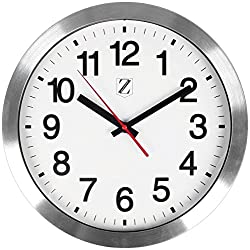 Zoyer Large Wall Clock 12 Inch Round Non-Ticking Silent Decorative Wall Clock - Easy To Read & Install Best For Home/Office/School Universal Use, Battery Operated (Silver)