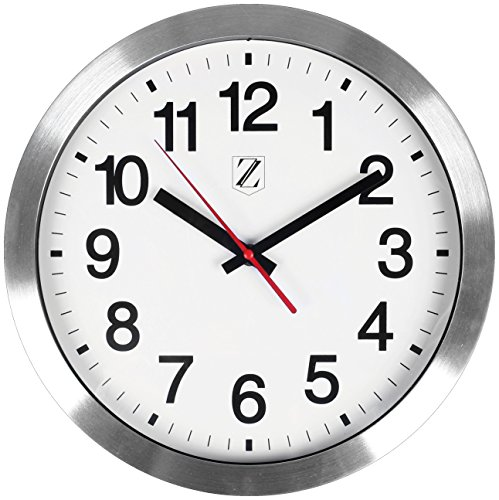 Zoyer Large Wall Clock 12 Inch Round Non-Tick Silent Decorative Wall Clock Universal Large Numbers - Silver