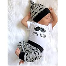 Newborn Baby Boy Tops Romper Short Sleeve Long Pants Legging Hat Outfit Set Clothes