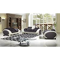 American Eagle Furniture Baltimore Collection Ultra Modern Bonded Leather Living Room 3 Piece Sofa Set With Pillow Top Armrests and Adjustable Headrests, Cream/White