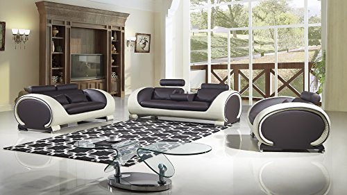 - American Eagle Furniture Baltimore Collection Ultra Modern Bonded Leather Living Room 3 Piece Sofa Set With Pillow Top Armrests and Adjustable Headrests, Cream/White