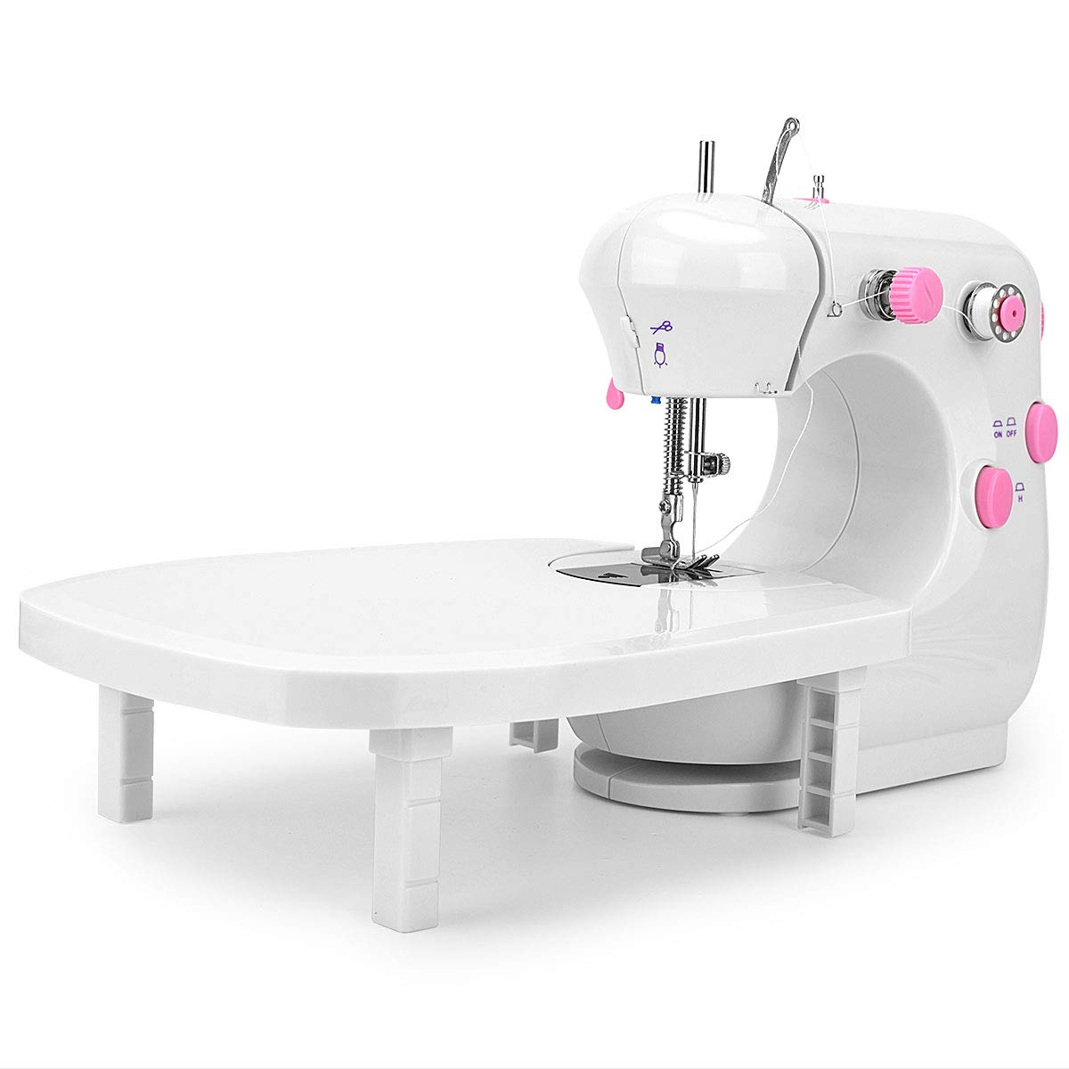 JXJH Mini Sewing Machine with Extension Table Portable Adjustable 2-Speed Crafting Mending Machine with Foot Pedal Upgrade Version for Household Multifunction Thick Fabrics Sewing Machine