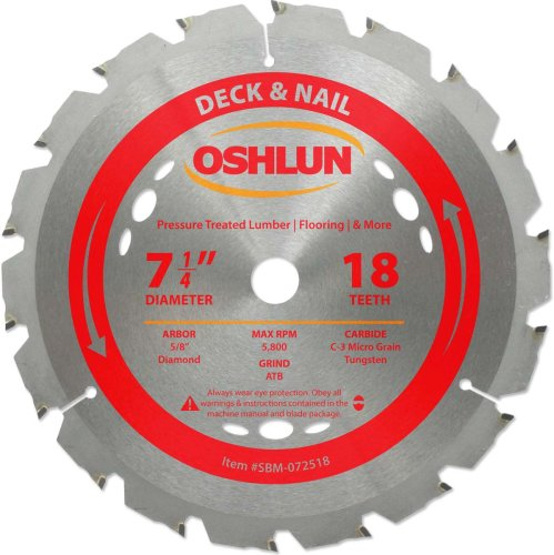 Oshlun SBM-072518 7-1/4-Inch 18 Tooth ATB Deck and Nail Saw Blade with 5/8-Inch Arbor (Diamond Knockout) (Saw Circular Blade Nail)