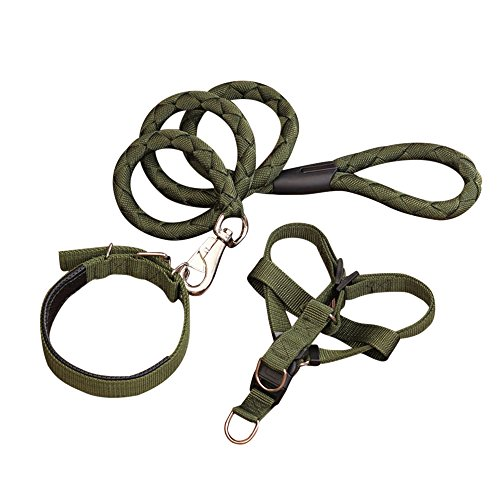 Quno Strong Durable Nylon Adjustable Pet Puppy Harness Collar & Leash Set for Dog Army Green Small by Quno