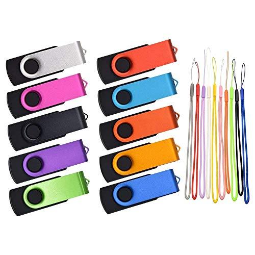 2GB Flash Drive Pack of 50 Thumb Drive Swivel Jump Drive Multicolor Memory Sticks Metal Pendrive Portable USB 2.0 Stick Zip Drive with Lanyard by Kepmem