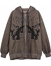 Dames Y2K Hoodie Casual Zip Up Oversized Lange Mouw Jas 90s E-Girl Vintage Rits Jas Trainingspak met Pocket, Koffie, M