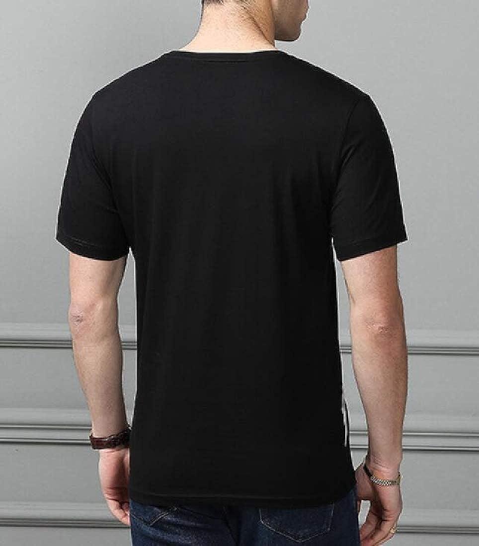 Pandapang Mens Loose Fit Crew Neck Short Sleeve Summer Stripe Tops T-Shirt