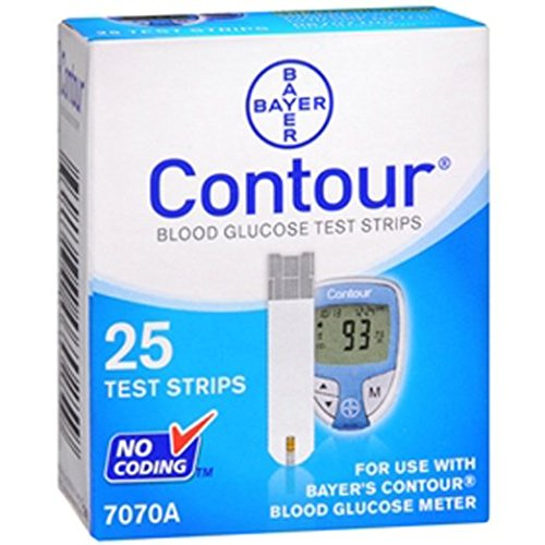 Ascensia Contour Test Strips, Blood Glucose, 25 ct. Pack of