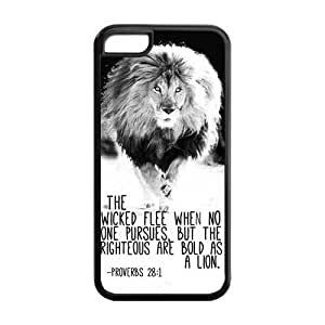 5C Phone Cases, Bible Verse Proverbs 28:1 Lion Hard TPU Rubber Cover Case for iPhone 5C