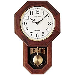 Seth Thomas Reginald Stained White Dial Brown Oak Finish and Wooden Case with Chime Pendulum Wall Clock