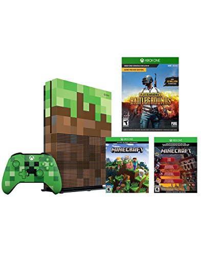 Xbox One S Minecraft Limited Editon 1TB Console, PLAYERUNKNOWN'S BATTLEGROUNDS and Limited Edition Minecraft Creeper Wireless Controller Bundle