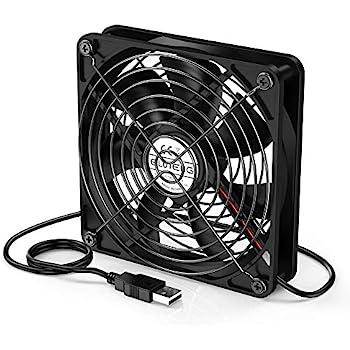 ELUTENG USB Fan 120mm Router Cooling Fan 5V DVR Cooling USB Blower Mini AV Cabient Cooler Ventilator Compatible for Xbox/Receive/PC