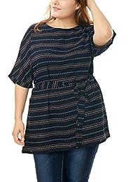 Allegra K Women Plus Size Striped Belted Dolman Tunic Chiffon Top