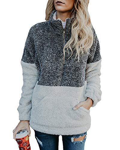 Autumn Winter Coat - KUFV Women's Zipper Sherpa Sweatshirt Soft Fleece Pullover Outwear Coat with Pockets Gray
