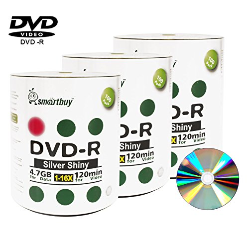 Smart Buy 300 Pack Dvd-r 4.7gb 16x Shiny Silver Blank Data Video Movie Recordable Media Disc, 300 Disc 300pk by Smart Buy