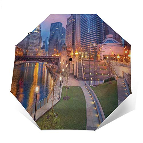 (Automatic Open Close tri-fold Windproof Travel umbrella,Cityscape Urban Scene Waterfront Illuminated At Twilight Blue Hour Image,OuterPrint)
