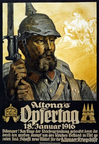 German Vintage Poster - WA36 Vintage 1916 WWI German Altona's Opfertag War Fund Raising Poster WW1 Re-Print - A2+ (610 x 432mm) 24