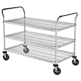 Commercial Grade NSF Certified All Purpose 3 Shelf Chrome Wire Utility Cart