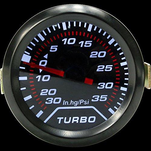 UxradG 2 Pulgadas 52 mm Universal Coche Auto LED Turbo Boost medidor de Presión de Vacío Calibre Ahumado Diales Cara: Amazon.es: Coche y moto