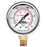 """Winters PFQ Series Stainless Steel 304 Dual Scale Liquid Filled Pressure Gauge with Brass Internals, 0-100 psi/kpa, 2"""" Dial Display, +/-2.5% Accuracy, 1/4"""" NPT Bottom Mount"""