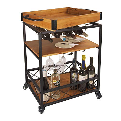 """LEVE 3 Tiers Solid Wood Kitchen Serving Cart Rolling Bar Buffet Cart with Bottle and Goblet Holder 24""""x18"""""""