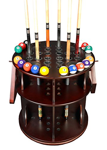 Cue Rack Only - Revolving 20 Pool - Billiard Stick & Ball Floor Stand Choose Oak or Mahogany Finish (Mahogany)