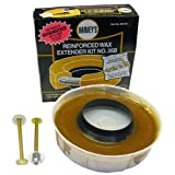 LASCO 04-3314 Toilet Bowl Extra Thick Wax Ring with Brass Bolts, Reinforced Urethane Core and Polyethylene Flange for 3-Inch and 4-Inch Waste Line