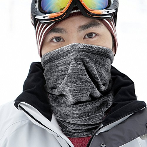 JIUSY Soft Fleece Neck Gaiter Warmer Face Mask Cover for Cold Weather Gear Winter Outdoor Sports Snowboard Skiing Cycling Motorcycle Hunting Fishing Suitable Men Women AA-C-01 Gray
