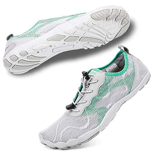 (hiitave Women Water Shoes Minimalist Barefoot Beach Aqua Socks Quick Dry for Outdoor Sport Hiking Swiming Surfing Light/Gray Mint 8/8.5 M US Women)