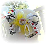 mud pie 6x - KINDERGARTEN ROCKS HAIR BOW TODDLER LITTLE GIRLS SCHOOL HAIRBOWS BLACK YELLOW WHITE ORGANZA RIBBON