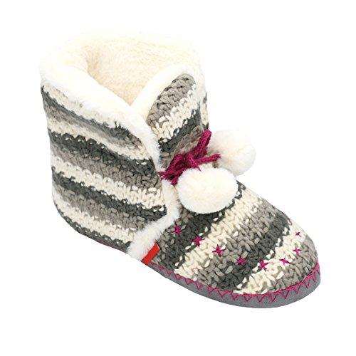 Womens Girls Faux Fur Lined Woolen Knit Slipper Boots Memory Foam House Booties Pom Pom Plush Indoor Shoes