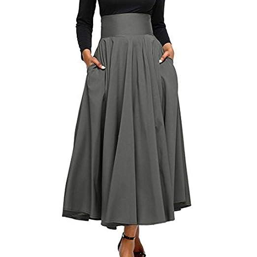 VJGOAL Moda Mujer Retro Cintura Alta Plisada Frente Hendidura Elegante Arco ceñido con Bolsillo Color sólido A-Line Falda hasta el Tobillo: Amazon.es: Ropa ...