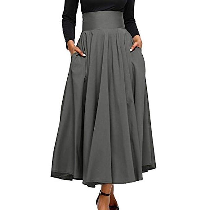VJGOAL Moda Mujer Retro Cintura Alta Plisada Frente Hendidura Elegante Arco ceñido con Bolsillo Color sólido
